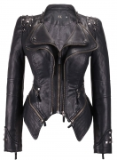 Hot New Women Leather Jacket Deals $55.99 chouyatou Women's Fashion Studded Perfectly Shaping Faux Leather Biker Jacket