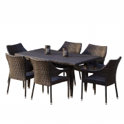 Hot New Patio Set Deals 429.92 Christopher Knight Home 235369 Stacking Wicker Chairs 7-Piece Outdoor Dining Set, Brown
