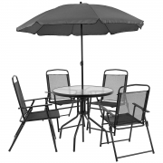 Hot New Patio Set Deals 109.50 Flash Furniture Nantucket 6 Piece Patio Garden Set with Table, Umbrella and 4 Folding Chairs