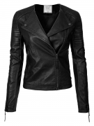 Hot New Women Leather Jacket Deals $25.54 Instar Mode Women's Long Sleeve Zipper Closure Moto Biker Faux Leather/Suede Jacket