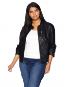 Hot New Women Leather Jacket Deals $69.99 Levi's Size Women's Plus Faux Leather Fashion Quilted Racer Jacket