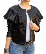 Hot New Women Leather Jacket Deals $39.98 lovecarnation Women Sexy Short Coat Jacket Zip Up Long Sleeves Ruffle Faux Leather PU Jacket