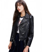 Hot New Women Leather Jacket Deals $38.88 LY VAREY LIN Women's Faux Leather Motorcycle Jacket PU Slim Short Biker Coat