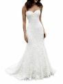 Hot New Wedding Dress Deals $99.99 SIQINZHENG Women's Sweetheart Full Lace Beach Wedding Dress Mermaid Bridal Gown White