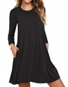 Hot New Women Dresses under $20 13.99 Unbranded* Women's Long Sleeve Pocket Casual Loose T-Shirt Dress