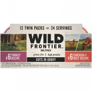 Hot New Pet Products $18.99 Wild Frontier Perfect PORTIONS Grain Free Natural Adult Wet Cat Food Cuts in Gravy Chicken & Beef and Turkey Recipes Variety Pack, (12) 2.6 oz. Twin-Pack Trays