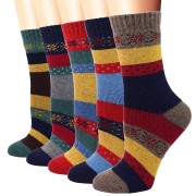 Hot New Holiday Gift Deals $10.18 YZKKE 5Pack Womens Vintage Winter Soft Warm Thick Cold Knit Wool Crew Socks, Multicolor, free size